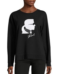 Karl Lagerfeld Signature Logo Sweatshirt Black White