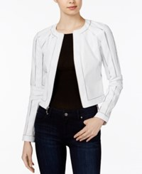 Guess Ivonne Faux Leather Moto Jacket White
