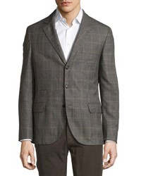Brunello Cucinelli Three Button Wool Blend Soft Check Jacket Grey Lig