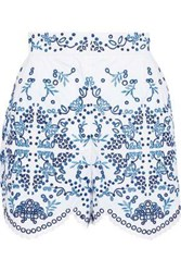 Dolce And Gabbana Broderie Anglaise Cotton Blend Shorts White