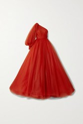 Monique Lhuillier Embellished One Sleeve Tulle Gown Tomato Red