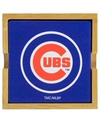 Memory Company Chicago Cubs 4 Pack Square Coaster With Caddy Blue