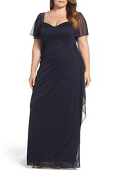Xscape Evenings Plus Size Women's Embellished Side Pleat Gown Navy Pink