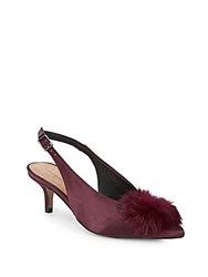 Saks Fifth Avenue Satin Slingback Faux Fur Kitten Heels Black