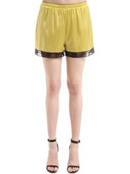 Dolce And Gabbana Silk Satin Lingerie Shorts With Lace Yellow