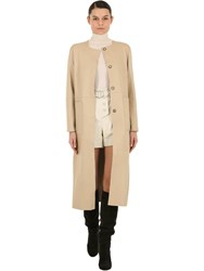 Yves Salomon Reversible Leather And Suede Coat Ivory