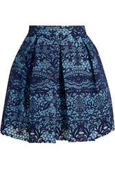 Maje Pleated Guipure Lace And Mesh Mini Skirt Navy