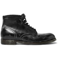 Dolce And Gabbana Distressed Leather Boots Black