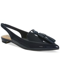 Tahari Paulina Slingback Pointed Toe Smoking Flats Women's Shoes Preppy Navy
