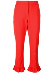 Msgm Frilled Cropped Trousers Women Cotton Polyamide Polyester Spandex Elastane 40 Red