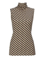 Wallis Printed Sleeveless Polo Neck Stone