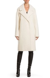 Badgley Mischka Women's 'Jenna' Snap Back Cocoon Coat Ivory