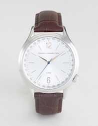 French Connection Watch Silver Dial With Leather Strap Brown Black