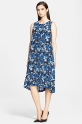 Eskandar Chrysanthemum Print Silk Dress Blue
