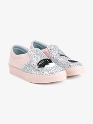 Chiara Ferragni Flirting Glitter Embellished Slip On Sneakers Pink Silver Black Blue White Denim