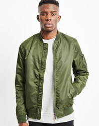 The Idle Man Lightweight Nylon Ma 1 Bomber Jacket Khaki