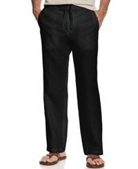 Tasso Elba Big And Tall Pants Linen Drawstring Pants Black