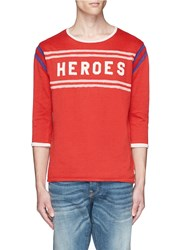 Scotch And Soda 'Heroes' Applique Stripe Vintage Wash Sweater Red
