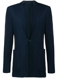 Hugo Boss Slim Fitting Knit Blazer Blue