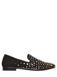 Giuseppe Zanotti 10Mm Swarovski Embellished Suede Loafers Black Gold