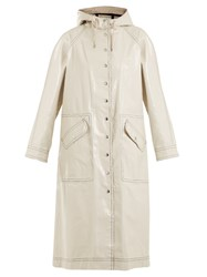 Alexachung Contrast Stitching Hooded Cotton Blend Raincoat Cream