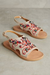 Anthropologie Coral Blue Gem Slingback Sandals Neutral