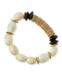 Akola Beaded Bone And Wood Bracelet Multi