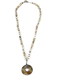 Loree Rodkin Diamond Stone Disc Lariat Necklace Nude And Neutrals