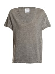 Barrie Sweet Eighteen Distressed Cashmere T Shirt Grey