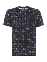 Paul Smith Men's Ps By All Over Paisley Printed T Shirt Navy