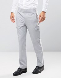 Asos Straight Smart Cargo Joggers In Pale Grey Pale Grey