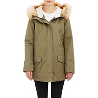Barneys New York Fur Trimmed Hooded Anorak Army
