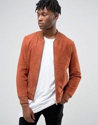 Black Dust Suede Bomber Jacket Rust Red