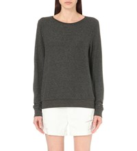 Wildfox Couture Essentials Baggy Beach Fleece Sweatshirt Clean Black