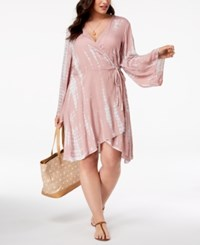 bb0645f543 Raviya Plus Size Printed Wrap Dress Cover Up Swimsuit Taupe