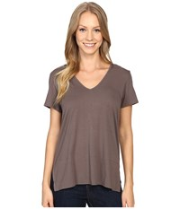 Lilla P Pima Modal Short Sleeve V Neck Pewter Women's Clothing
