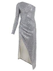 Galvan Mamounia Asymmetric Sequinned Tulle Dress Silver