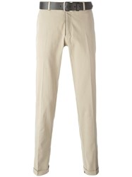 Pt01 Belted Chino Trousers Nude Neutrals