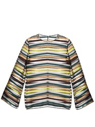 Emilia Wickstead Brigitta Striped Organza Top Multi