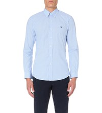 Ralph Lauren Slim Fit Single Cuff Checked Shirt Blue Wht Gingham