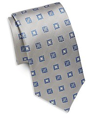 Yves Saint Laurent Embroidered Silk Tie Silver