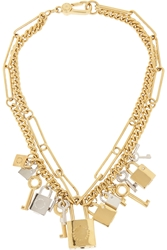 Marc By Marc Jacobs Lock And Key Gold Tone Crystal Necklace