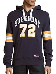 Superdry Tri League Football Michigan Cotton Blend Hoodie Boston Grey
