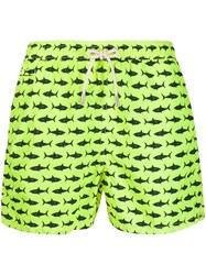 Mc2 Saint Barth Shark Print Swim Shorts Green