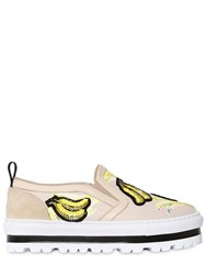 Msgm 40Mm Bananas Canvas Slip On Sneakers