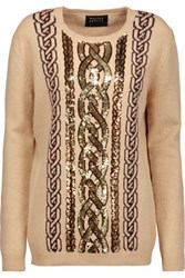 Markus Lupfer Natalie Sequined Intarsia Knit Wool Sweater Beige
