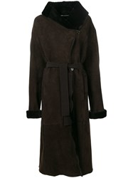 Liska Wide Collar Coat Brown