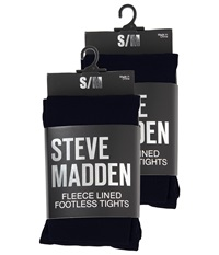 Steve Madden 2 Pack Fleece Lined Footless Tight Black Hose
