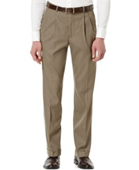 Perry Ellis Double Pleated Classic Fit Sharkskin Dress Pants Rock Taupe