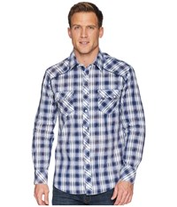 Rock And Roll Cowboy Long Sleeve Snap Plaid B2s5705 Blue Clothing